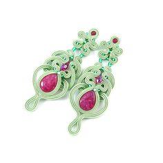 Mint ruby dangle openwork soutache earrings by byPiLLowDesign