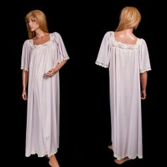 #LucieAnnNightgown Large #VintageNightgown Open Bust  Grand Sweep Purple Lace Long #Lingerie #LucieAnn #Lingerie #OpenBust #PurpleLace #Nightgown #SomeLikeItUsed