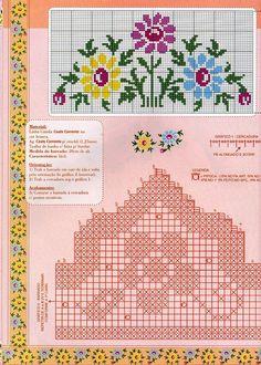 "Photo from album ""Punto Cruz"" on Yandex. Cross Stitch Borders, Cross Stitch Rose, Cross Stitch Flowers, Counted Cross Stitch Patterns, Cross Stitch Designs, Cross Stitching, Cross Stitch Embroidery, Filet Crochet, Crochet Borders"