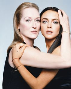 Two Queens - Meryl Streep and Lindsay Lohan; W Magazine May 2006