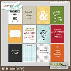All I Am [Journal Card Pack] :: Gotta Pixel Digital Scrapbook Store by Pixelily Designs $2.00