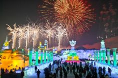 Fireworks explode over enormous ice sculptures at the opening ceremony of the Harbin Internatoinal Ice and Snow Festival in Harbin, China, on Jan. 5, 2013.