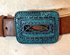 Vintage Brass Patina filigree belt buckle