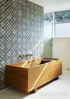 ofuro tub with cement tile wall. Japanese tubs are designed to be soaking o. - Janjira Leluk -Teak ofuro tub with cement tile wall. Japanese tubs are designed to be soaking o. Wood Tub, Wooden Bathtub, Wood Bath, Tile Wood, Wooden Bathroom, Diy Bathtub, Bathtub Tile, Wood Flooring, Japanese Bathtub