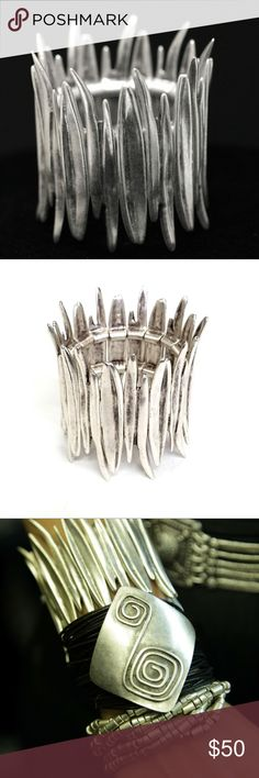 Pewter Silver Spike Bracelet Hand made, Antique Silver plated Pewter Stretch Bracelet. Nickel Free & Hypoallergenic.  Jewelry with Passion  The Ultimate in Quality and Style  Turkish Jewelry specializes in handcrafted jewelry of zinc, bronze, silver. All products are lead and nickel free. Jewelry Bracelets
