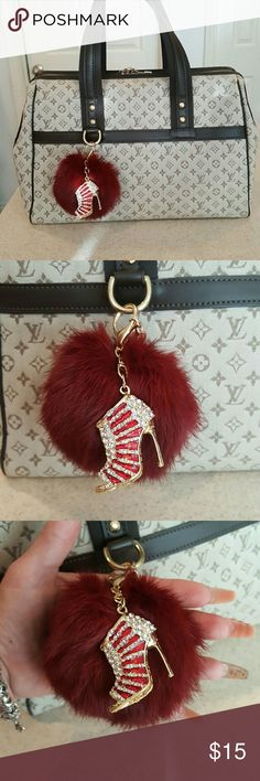 New Red Real Fur Pom Key Fob w/Charm New Deep Red/Burgundy Real Fur Pom Key Fob with high heel charm in Red with Rhinestones & Gold Tone Hardware! This Pom is Medium-sized. Some might consider it to be on the larger side, as I do. Add to your Bag, Backpack, Keyring, & More!!! Accessories