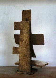 #Bronze #sculpture by #sculptor Colin Figue titled: 'Order of Cross (Contemporary Modern Indoor Cross statue)'. #ColinFigue