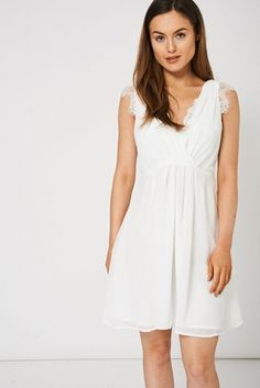 Cream V-Neck Dress With Lace Detail