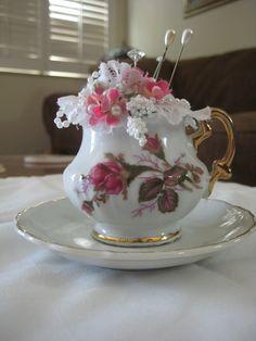 Beautiful Victorian look Teacup Pincushion