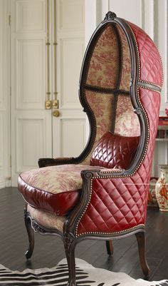 Victorian leather and toile 'Balloon Chair'