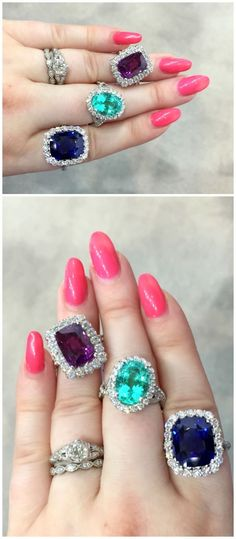 Remarkable gemstone rings by Coast Diamond. A purple sapphire, a Paraiba tourmaline, and a blue sapphires, all of exceptional quality.