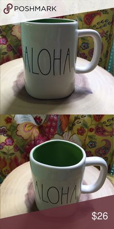 Rae Dunn Aloha big letter mug summer collection Rae Dunn Aloha Mug Big letter Colored No chips or cracks Green   Ships same or next day Experienced packers  Rae Dunn Big letter mugs Colored  Farmhouse chic Mother's Day Graduation  Beach  Vacation house  Lake house Hospitality  Travel agent. Found on 2pourgirls on mecari Rae Dunn Other