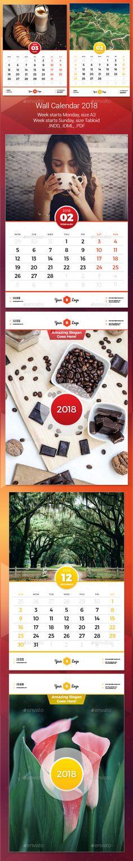Wall #Calendar 2018 - Calendars #Stationery Download here:  https://graphicriver.net/item/wall-calendar-2018/20227418?ref=alena994