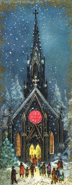 Free Printable of Vintage Christmas Card: Church Aglow...Just beautiful! inside message typed just below pic