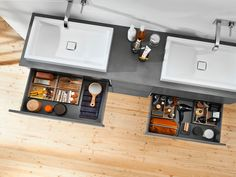 For individual needs, Blum AMBIA-LINE internal drawer organisers are customisable to any item. Small Cupboard, Kitchen Organisation, Vertical Storage, Space Saving Furniture, Vanity Units, Large Homes, Bathroom Renovations, Bathroom Furniture, Bath Caddy
