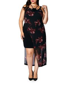 Mblm By Tess Holiday Plus Sleeveless Printed Asymmetric Dress Women's