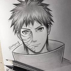 Uchiha Obito I know he had the rinnegan in his left eye but I just wanted to make him a normal one  #obitouchiha #sketch