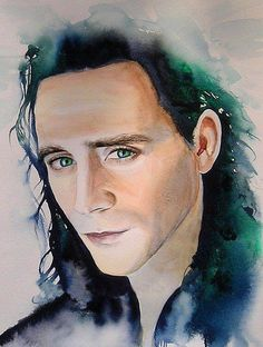 """It is """"just"""" a painting...but those eyes....and that face....super-wonderful-good job!   Loki by KimberlyGodfrey."""