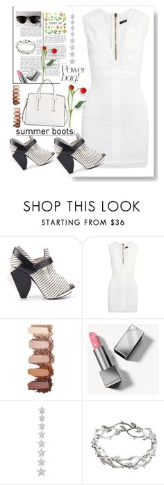 """White dress"" by archsan ❤ liked on Polyvore featuring Abcense, Balmain, White Label, Burberry, Elise Dray, Ray-Ban, Tiffany & Co., French Connection and summerbooties"