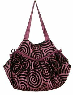 BTP! Women Handbag Hippie Hobo Shoulder Bag Purse Thai Silk Look Swirl Design (Plum SW1)
