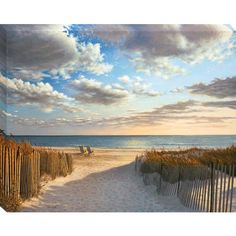 "30"" X 38"" Sunset Beach Canvas Wall Art"