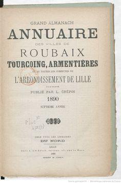 Grand almanach annuaire des villes de Roubaix...