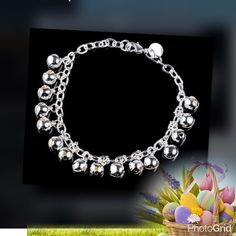 """925 silver plated jingle bells bracelet Beautiful Elegant adjustable up to 7-1/2"""" details please see second photo  3 pcs available Jewelry Bracelets"""