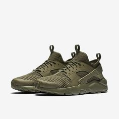 nike huarache olive green and black