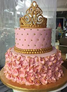 Pink and Gold Bridal Shower/Baby Shower Cake - Sophia's birthday - Shower Party, Baby Shower Parties, Baby Shower Themes, Shower Ideas, Bridal Shower, Pink Und Gold, Rose Gold, Pink Gold Cake, Purple Gold