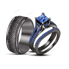 His/Her Men's /Women's Trio Ring set Princess Cut Sapphire 14k Black Gold Over #giftjewelry22