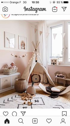 minimalist girl bedroom decor with boho artwork and boho rug girl teepee in playroom decor neutral playroom design modern boho playroom design modern boho girl bedroom minimalist kid room decor Playroom Design, Kids Room Design, Playroom Decor, Baby Room Decor, Bedroom Decor, Bedroom Ideas, Home Design, Design Design, Modern Playroom