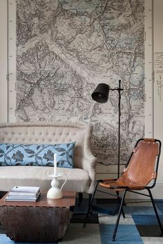 Discover wall mural design ideas on HOUSE - design, food and travel by House & Garden. Having discovered these vintage German maps in a skip, we had them enlarged to make wallpaper.