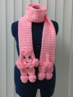 Poodle - Scarf Crochet Pattern - Pink Poodle Scarf Pattern - With Tutorials - Poodle Crochet Pattern Crochet Scarves, Crochet Clothes, Knit Crochet, Crochet Hats, Pink Poodle, Magazine Crochet, Fleece Scarf, Crochet For Kids, Crochet Hat Patterns