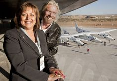 Richard Branson with New Mexico Governor Susana Martinez dedicate the 'Virgin Galactic Gateway to Space'