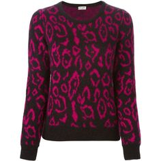 Saint Laurent leopard intarsia sweater ($400) ❤ liked on Polyvore featuring tops, sweaters, black, black crew neck sweater, long sleeve tops, leopard print sweater, long sleeve sweaters and leopard sweater