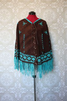 Vintage 1970's Brown and Turquoise Suede Leather Poncho Caplet with Fringe by pursuingandie, $58.50