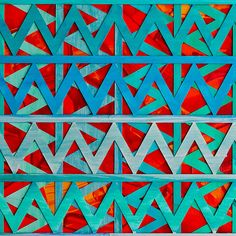 'Follow me I know where I'm going' by Michael Adendorff. Abstract, lines, angles, blue, green, orange, red. Original paper art.