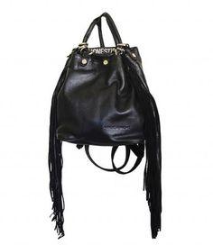 Black Leather Daisy Fringe Backpack