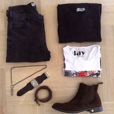 today's fit black&brown ⚫️⚫️ #outfitgrid #outfitoftheday #ootd