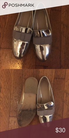 """Silver loafers Super cute solve loafers with grey detailing. Purchased from ASOS. Worn only a few times. They say size """"6"""" but I am a true 8 and they fit perfectly in length but are a little wide for my narrow foot. ASOS Shoes Flats & Loafers"""