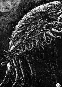 """""""Cthuhlu Head Side"""" by Peter Kneeshaw on #INPRNT - #fine art #print #poster #art #ink #ink drawing #drawing #pen and ink #pen"""