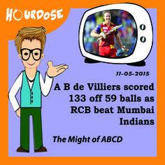 A B de Villiers scored 133 off 59 balls