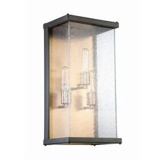 """Midnight / Patina Aged Brass Farnsworth 3 Light 20-1/4"""" High Outdoor Wall Sconce with Clear Seeded Glass Shade"""