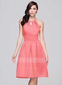 A-Line/Princess Halter Knee-Length Satin Bridesmaid Dress With Ruffle Bow(s) (007060610)