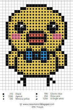 Cross me not tiny chick Easter cross stitch small simple easy yellow bow tie perler bead pattern