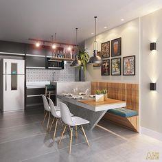 Home Interior Cocina .Home Interior Cocina Kitchen Room Design, Dining Room Design, Home Decor Kitchen, Kitchen Living, Kitchen Interior, Home Kitchens, Living Room, Kitchen Seating, Kitchen Benches