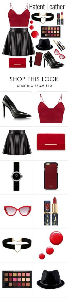 """""""Patent leather"""" by laura-kfff ❤ liked on Polyvore featuring Boohoo, Christian Dior, Vianel, Moschino, Miss Selfridge, Topshop, Huda Beauty and Yves Saint Laurent"""