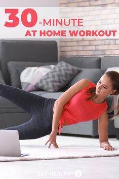 Ready to get your sweat on? Do this at-home full body workout that will work all the major muscle groups. You don't need any equipment—just your own bodyweight and a little room to move. Ab Core Workout, Best Ab Workout, 30 Minute Workout, Gym Workout Tips, Toning Workouts, Strength Workout, Exercises, Full Body Workout No Equipment, Full Body Workout At Home