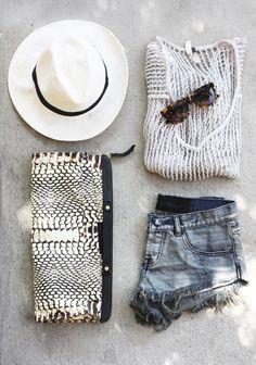 Summer Outfit: White fedora w/black band, white mesh Rag & Bone sweater, black & white snakeskin clutch & cutoffs