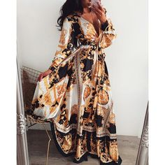 Long Sleeve Maxi, Maxi Dress With Sleeves, Floral Maxi Dress, The Dress, Full Sleeves, Estilo Folk, Maxi Robes, Casual, African Fashion